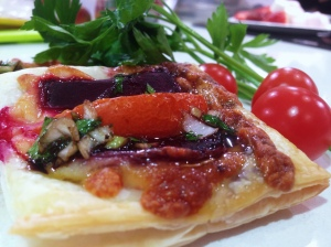 Beetroot and tomato tart with balsamic glaze