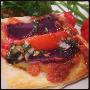 Mozarella beetroot and tomato tart with balsamic glaze