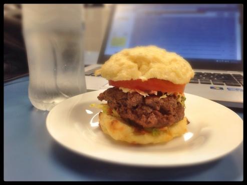 Beef sliders, with bacon 'n beef patties on a gluten free bun