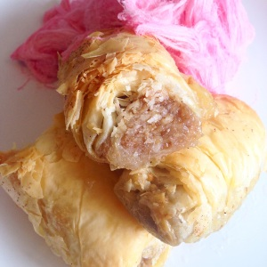 Baklava served with Persian Fairy Floss
