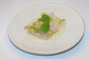 Cured kingfish on celery and kaffir puree