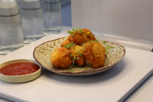Hush puppies with homemade spicy salsa