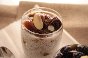 Almonds add texture to the chia pudding