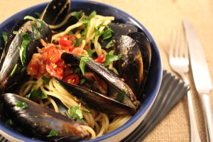 Steamed Italian style mussels with pasta
