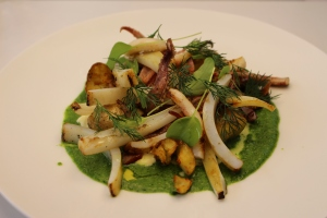 Squid salad with sorrel and dill dressing