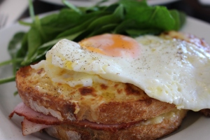 Croque Madame with freshly cracked pepper
