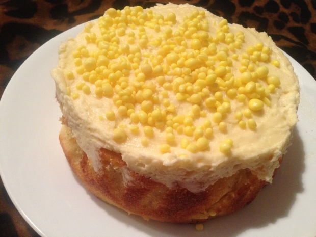 Lemon Coconut cake with popping candy