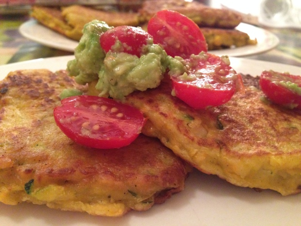 Corn fritters with smashed avocado salsa