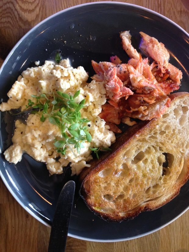 Scrambled eggs with a side of house smoked trout